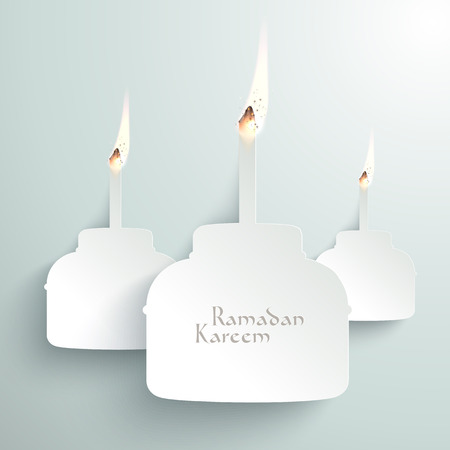 Vector 3D Paper Pelita  Muslim Oil Lamp  Burning  Translation  Ramadan Kareem - May Generosity Bless You During The Holy Month  Illustration