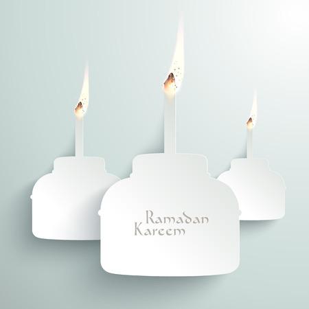 Vector 3D Paper Pelita  Muslim Oil Lamp  Burning  Translation  Ramadan Kareem - May Generosity Bless You During The Holy Month  Vector
