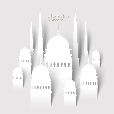 Vector 3D Paper Mosque  Translation  Ramadan Kareem - May Generosity Bless You During The Holy Month  向量圖像