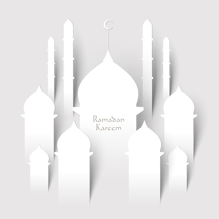 minarets: Vector 3D Paper Mosque  Translation  Ramadan Kareem - May Generosity Bless You During The Holy Month  Illustration
