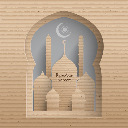 bless: Vector 3D Cardboard Mosque  Translation  Ramadan Kareem - May Generosity Bless You During The Holy Month