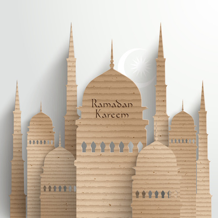 Vector 3D Cardboard Mosque  Translation  Ramadan Kareem - May Generosity Bless You During The Holy Month  photo