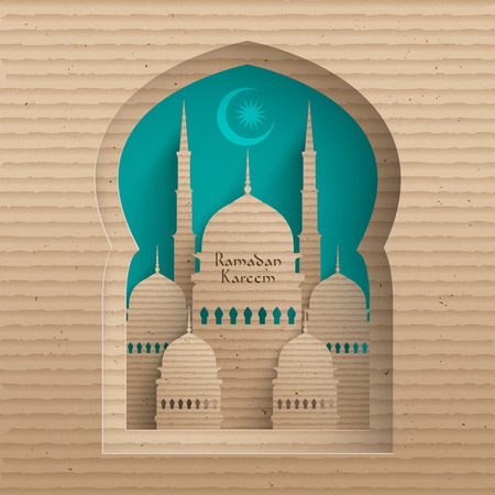 islamic pray: Vector 3D Cardboard Mosque  Translation  Ramadan Kareem - May Generosity Bless You During The Holy Month