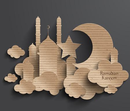 ベクトル イスラム教徒段ボールの 3 D グラフィックス翻訳ラマダン カリーム - 寛大さの祝福があります神聖な月の間に 写真素材