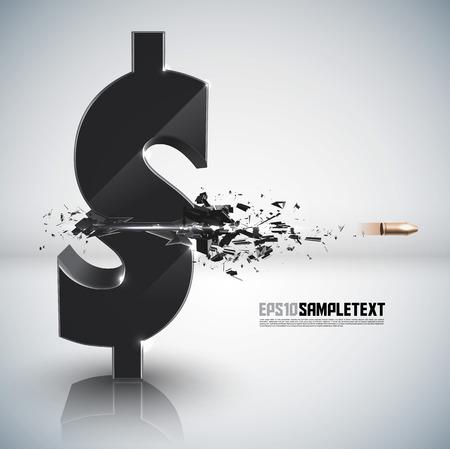 Vector Bullet Sends a Shot Through Money Sign