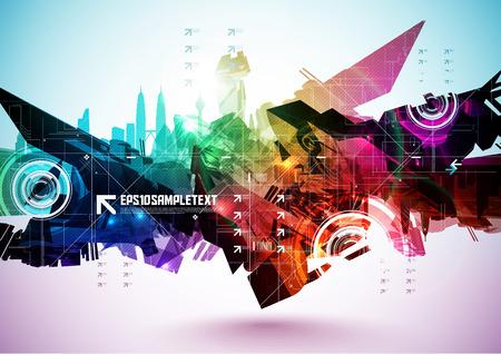 다채로운 추상적 인 디지털 아트