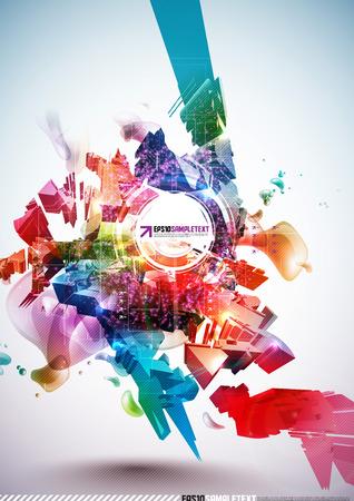 destructive: Colorful Abstract Digital Art Illustration