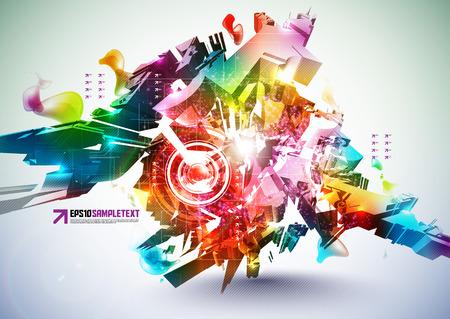 digital art: Colorful Abstract Digital Art Illustration