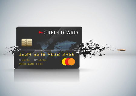 Vector Bullet Sends a Shot Through a Credit Card Illustration