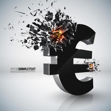 destructive: Vector Euro Sign Crushing Illustration