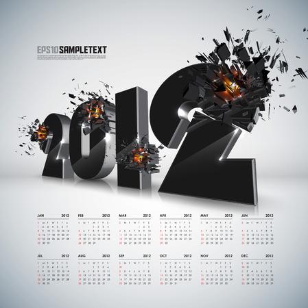 ベクトル 2012 カレンダーと破砕  イラスト・ベクター素材