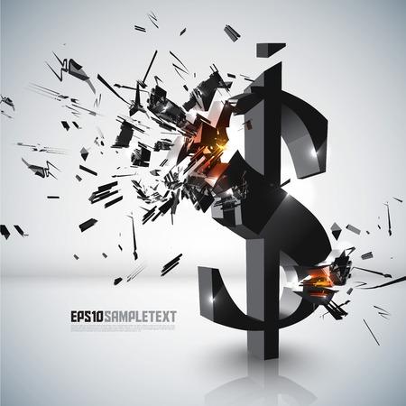 dollar sign: Vector Money Sign Crushing