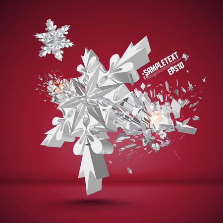 crushing: Vector Snowflake Crushing Illustration