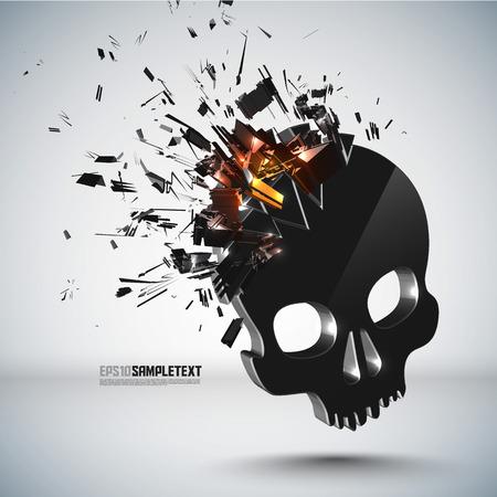crushing: Vector Skull Crushing Illustration