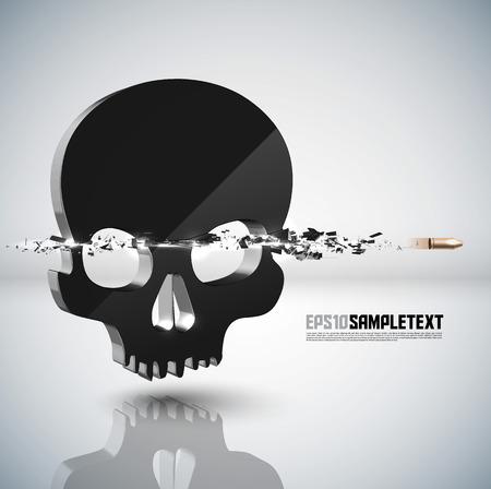 violate: Vector Bullet Sends a Shot Through Skull Sign