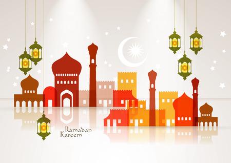 ベクトルのイスラム教のモスクおよび石油ランプ グラフィック翻訳ラマダン カリーム - 寛大さの祝福があります神聖な月の間に