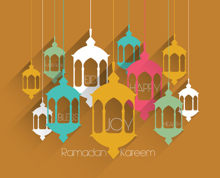 Vector Flat Muslim Oil Lamp Graphics  Translation  Ramadan Kareem - May Generosity Bless You During The Holy Month  Vector