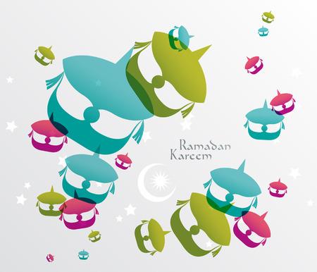Vector malayo Wau Luna Kite Gráficos Traducción Ramadán Kareem - mayo Generosidad los bendiga durante el mes santo Vectores