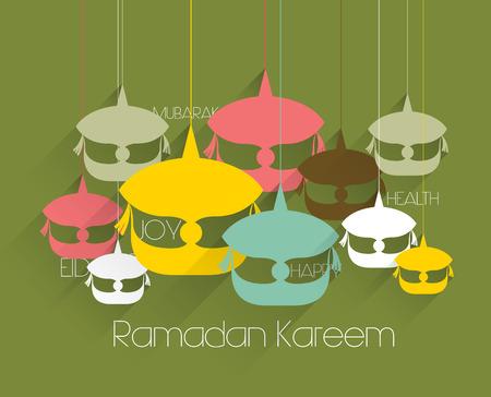 Vector Flat Malay Wau  Moon Kite  Graphics  Translation  Ramadan Kareem - May Generosity Bless You During The Holy Month