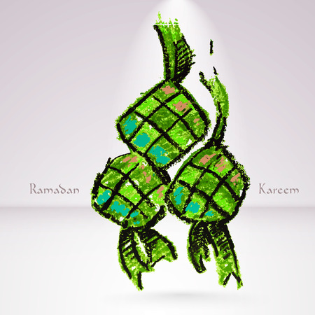 hari raya: Vector Crayon Ketupat  Rice Dumpling   Translation  Ramadan Kareem - May Generosity Bless You During The Holy Month  Illustration