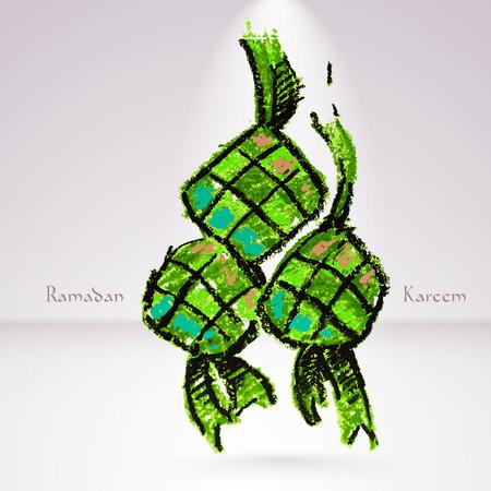 ramadhan: Vector Crayon Ketupat  Rice Dumpling   Translation  Ramadan Kareem - May Generosity Bless You During The Holy Month  Illustration