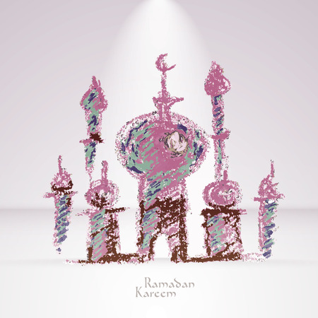 Vector Crayon Muslim Mosque  Translation  Ramadan Kareem - May Generosity Bless You During The Holy Month  Vector