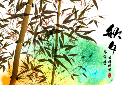 tradition traditional: Vector Bamboo Ink Painting for Korean Chuseok, Mid Autumn Festival , Thanks Giving Day, Harvest Holiday  Translation of Korean Text  Thanksgiving Chuseok, Mid Autumn Festival