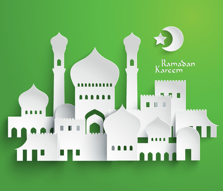 ベクトル 3 D イスラム教徒ペーパー グラフィックス翻訳ラマダン カリーム - 寛大さの祝福があります神聖な月の間に  イラスト・ベクター素材