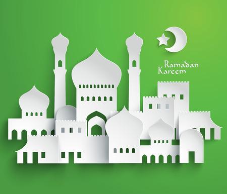 kareem: Vector 3D Muslim Paper Graphics  Translation  Ramadan Kareem - May Generosity Bless You During The Holy Month  Illustration