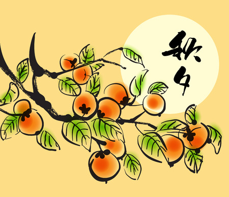 persimmon: Vector Ink Painting of Persimmons for Korean Chuseok  Mid Autumn Festival , Thanks Giving Day, Harvest Holiday  Translation of Korean Text  Chuseok  Mid Autumn  Illustration