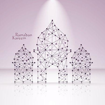 Vector Polygonal Mosque  Translation  Ramadan Kareem - May Generosity Bless You During The Holy Month  Illustration