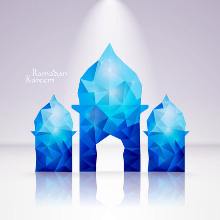 aidilfitri: Vector Polygonal Crystal Mosque  Translation  Eid Mubarak - Blessed Feast