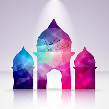 hari raya: Vector Polygonal Crystal Mosque  Translation  Eid Mubarak - Blessed Feast