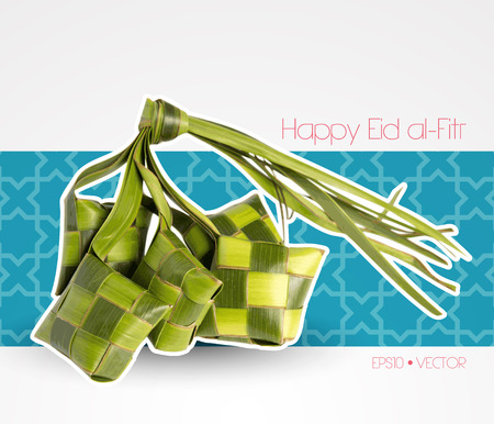 hari raya: Vector Muslim Ketupat  Rice Dumpling   Translation  Happy Eid al-Fitr   Feast of Breaking the Fast
