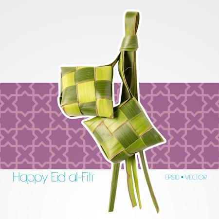 ramadhan: Vector Muslim Ketupat  Rice Dumpling   Translation  Happy Eid al-Fitr   Feast of Breaking the Fast