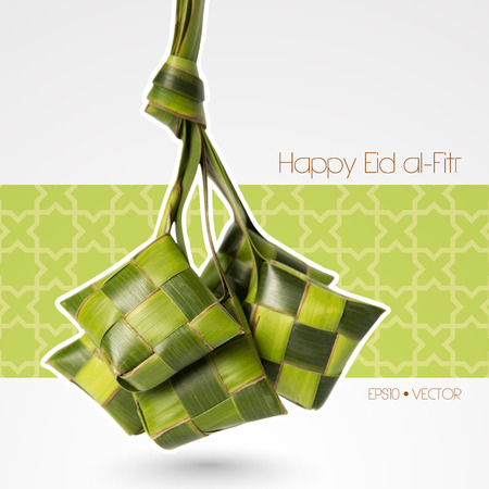 aidilfitri: Vector Muslim Ketupat  Rice Dumpling   Translation  Happy Eid al-Fitr   Feast of Breaking the Fast