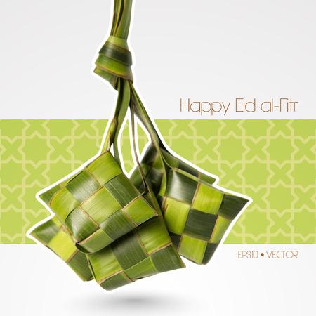 aidilfitri: Vector Muslim Ketupat  Rice Dumpling   Translation  Happy Eid al-Fitr   Feast of Breaking the Fast
