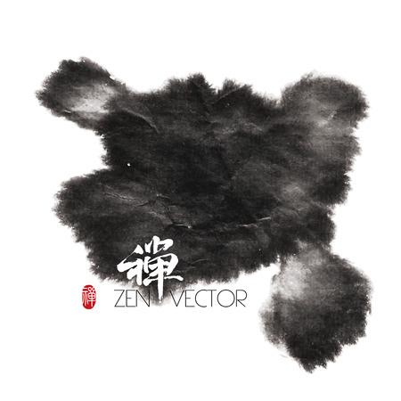 ink in water: Vector Abstract Zen Background  Translation of Calligraphy   Red Stamp  Zen
