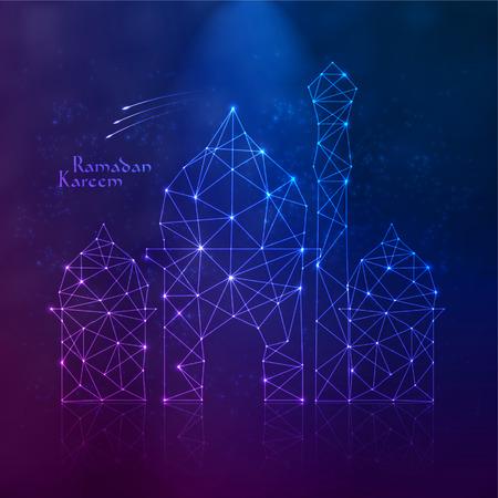 рамадан: Вектор Polygonal мечеть Перевод Рамадан Карим - Может щедрость благословит вас во время священного месяца