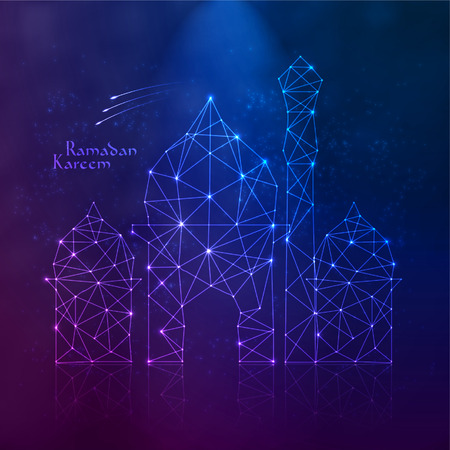 aidilfitri: Vector Polygonal Mosque  Translation  Ramadan Kareem - May Generosity Bless You During The Holy Month  Illustration