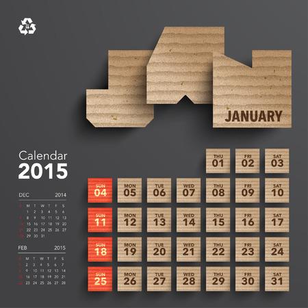 january calendar: Vector 2015 Cardboard Calendar Design - January