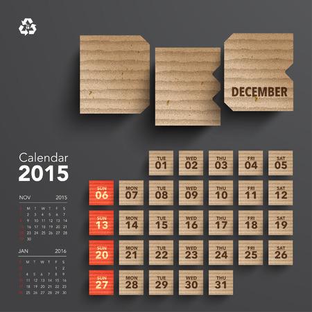 ベクトル 2015年段ボール カレンダーのデザイン , 12 月 写真素材 , 29897671