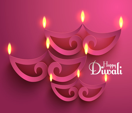 Vector Paper Diwali Diya  Oil Lamp