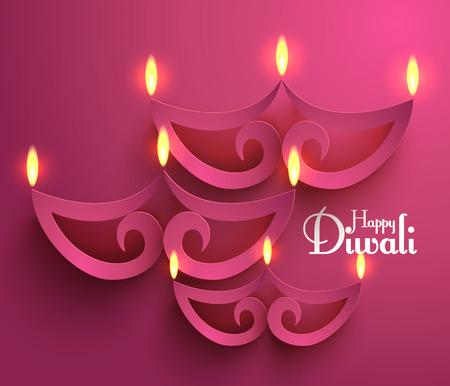 indische muster: Vector Papier Diwali Diya �llampe