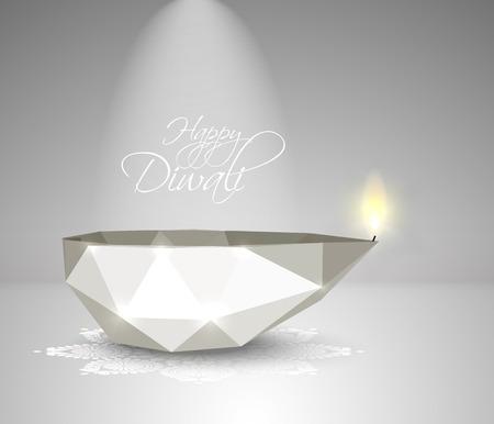 jain: Vector Polygonal Diwali Diya  Oil Lamp