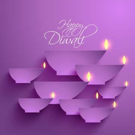 diwali greeting: Vector Paper Diwali Diya  Oil Lamp