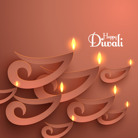 oil lamp: Vector Paper Diwali Diya  Oil Lamp