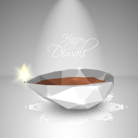 Vector Polygonal Diwali Diya  Oil Lamp   Vector