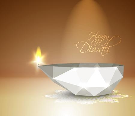 sikh: Vector Polygonal Diwali Diya  Oil Lamp