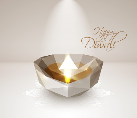jain: Vector Polygonal Diwali Diya  Oil Lamp